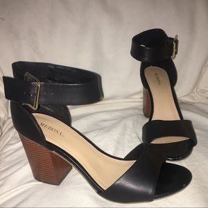 Merona - Strappy black leather with wooden heel